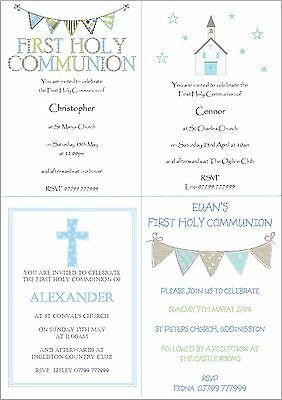 10 Personalised Boys First 1st Holy Communion Invitations - First Communion Invitations For Boys