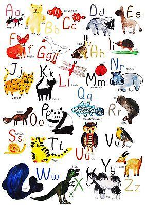 ABC Poster / Lernposter/ A4 / Tiere / Geschenk zur Einschulung