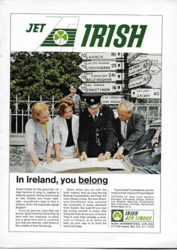 1966 Irish Aer Lingus Shamrock One-Eleven Jet Policeman Original Print Ad