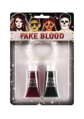 Fake Blood Red & Green With Vampire Teeth Halloween Make Up Fancy Dress - Halloween Costumes With Fake Blood