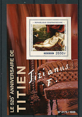 Central African Republic 2015 MNH Titian 525th Anniv 1v S/S Paintings Venus Dog