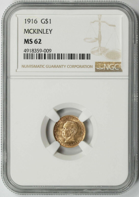1916 McKinley Memorial Commemorative Gold Dollar $1 MS 62 NGC