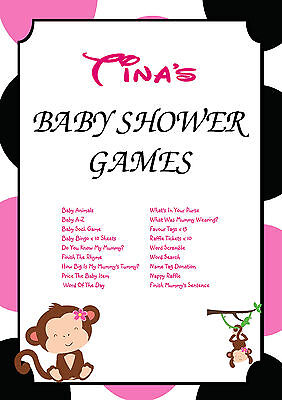 1 Personalised Baby Shower Party Games for 10 guests   Favour Tags   Monkey - Baby Shower Party Favors For Guests