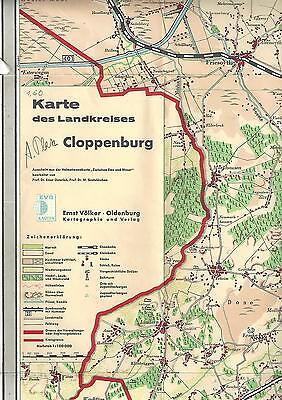 Cloppenburg. Karte des Landkreises. 1950-1960.