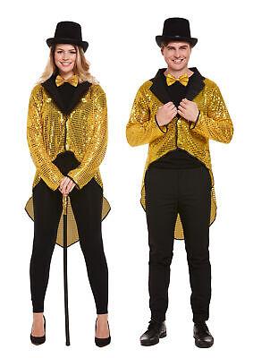 Ringmaster Dance Costume (UNISEX GOLD SEQUIN TAILCOAT CABARET FANCY DRESS CIRCUS RINGMASTER DANCE)