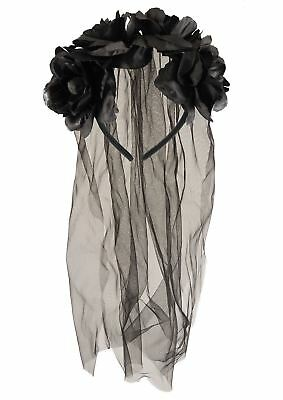 Zombie Burlesque Halloween (Goth Black Bride Headband Veil Flower Adult Ladies Halloween Fancy Dress)