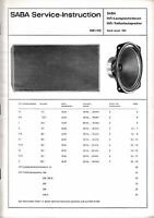 Servicio Manual De Instrucciones Para Saba Hifi-lautsprecherboxen, Año 1969 -  - ebay.es