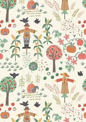 Lewis & Irene, Scarecrow Acres, 100% Cotton Fabric, Fat Quarter, Harvest Pumpkin