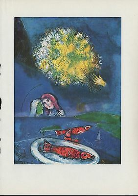 """1963 Vintage """"FISHES AT SAINT-JEAN, 1949"""" MARC CHAGALL COLOR Art Lithograph"""