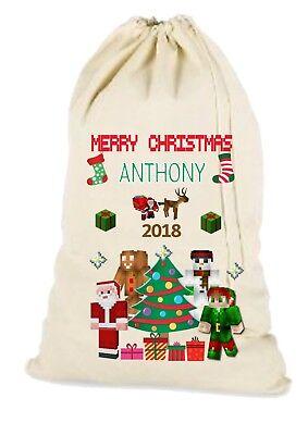 Personalised Large Minecraft Christmas Santa Gift Sack