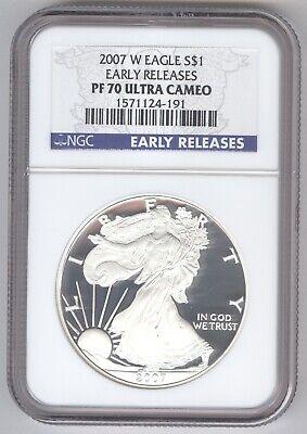 2007 W Eagle S$1 PF 70 Ultra Cameo + American Silver Eagle + NGC + No Reserve!