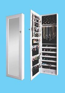Mirrored-Jewelry-Armoire-Cabinet-Storage-Wall-Mount-Hang ...