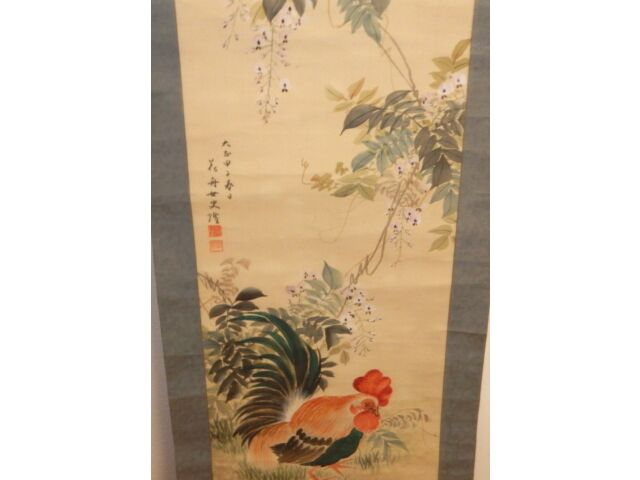 HUGE OLD JAPANESE ORIGINAL WATERCOLOR ROOSTER SCROLL PAINTING SIGNED