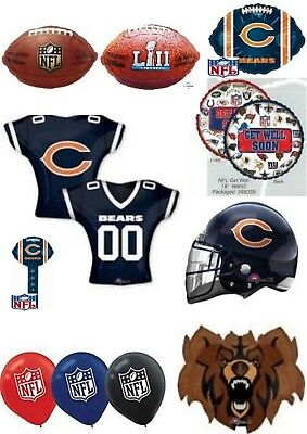 Balloon Decorations Chicago (Chicago Bears NFL Helium Balloons Party Ware Decoration Novelty)