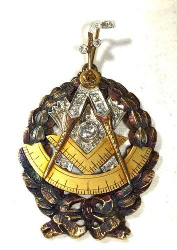 1924-- I FRA DELLA ARCHEMEDE NO 935 14K YELLOW GOLD,.50 CT,DIAMOND MASONIC MEDAL