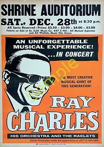 Ray Charles-Vintage Reproduction concert poster-A4 Print-Jazz,Soul,Northern