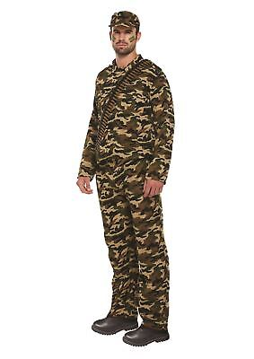 Adults Mens Army Soldier Guy Military Forces Outfit Fancy Dress Up Party Costume - Army Guy Costume