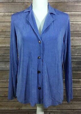 Coldwater Creek Womens Button Down Slinky Shirt Medium Light Blue Stretch EUC S4 ()