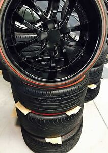 """Lenso 20"""" Deep Dish Midnight Black with Red wall all round Wetherill Park Fairfield Area Preview"""