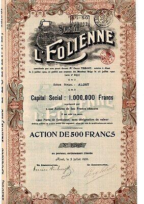 L'EOLIENNE ALOST,AALST ACTION DE 500 FRANCS      2