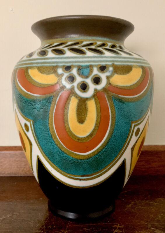 "Gouda Pottery Early Matte Glaze Vase 6.75"" Tall RARE"