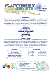 Autism Spectrum Sewing Classes - Sewing Machine Provided! Old Noarlunga Morphett Vale Area Preview