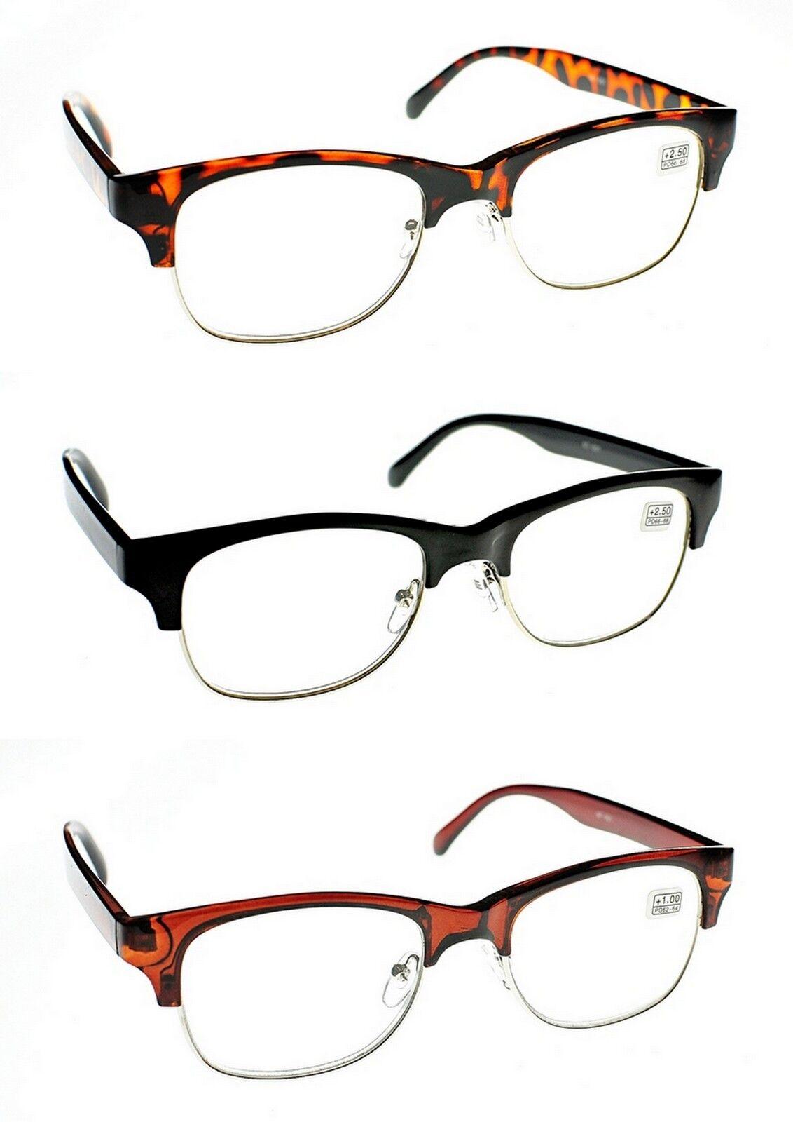 Media Montura Moda Unisex Retro Gafas de lectura en carey, marrón y ...