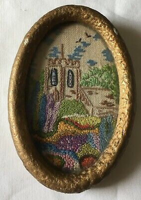 Vintage Miniature Framed Tapestry Needle Point Picture in Paper Mache Frame