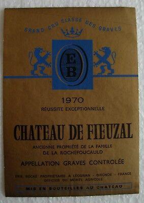 Etiquette Château de Fieuzal 1970