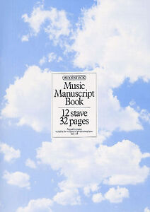 Music Manuscript Book Paper Pad A4 32 Pages 12 Staves Per Page Quality Paper