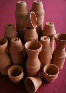BULK LOT OF 150 SMALL CLAY FLOWER POTS, DOLL HOUSE, FAIRY GARDEN, CRAFT, SCHOOL