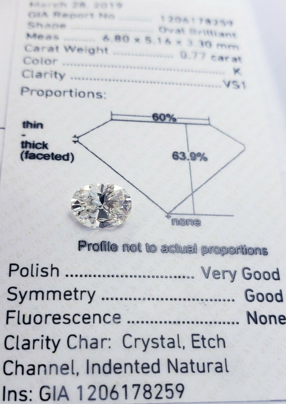 Guinness 0.79 Carat Oval Cut Natural Loose Diamond K VS1 GIA Certified