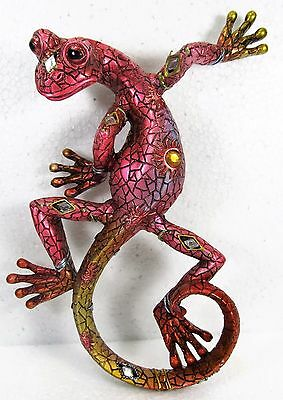 Gecko Multi Colored w/ Acrylic Jewels and Mirrors resin wall art home decor