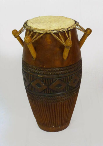 "Hand-carved African Kpanlogo Drum from Ghana - 11""x 24"" Hide Top"