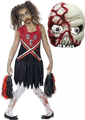 Zombie Undead Monster Cheerleader Girls Teen Halloween Fancy Dress Costume+ MASK - Cheerleader Halloween Costume Teen
