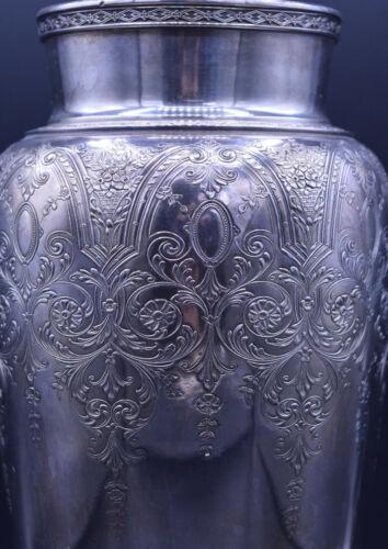 """Vintage Wilcox International Silverplate Large Etched Flower Vase Urn 9.5"""" I"""