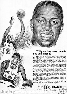 1969 Print Ad Of The Equitable Life Assurance Insurance W Willis Reed Ny Knicks