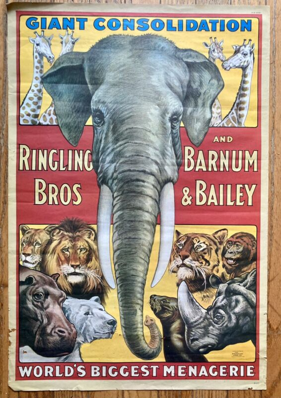Ringling Bros And Barnum & Bailey Giant Consolodation Circus Poster