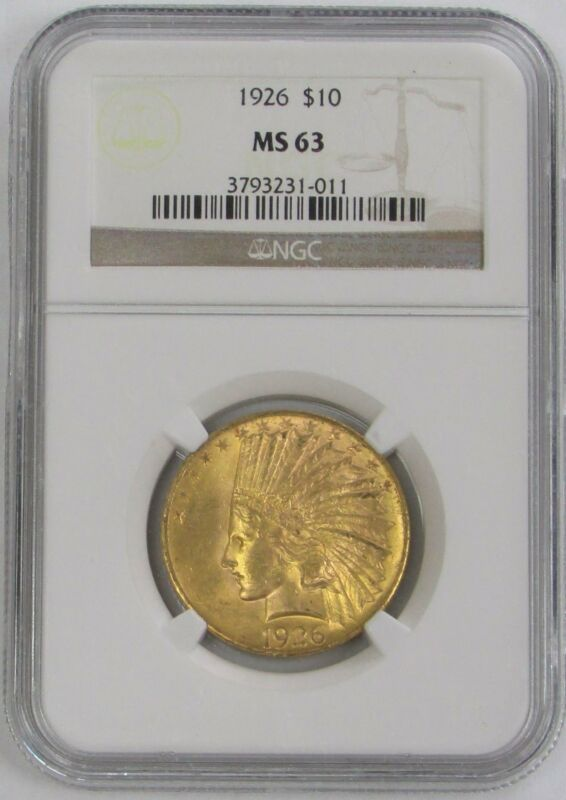 1926 GOLD $10 INDIAN HEAD COIN NGC MINT STATE 63