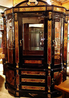 Large French Louis Boulle Style, Glass Display, Vitrine China Cabinet, Bookcase