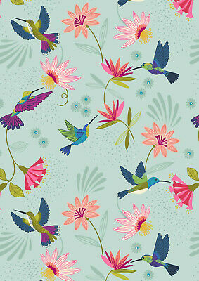 By 1/2 Yard ~ Lewis & Irene Hummingbird Fabric ~ Birds in Duck Egg / Aqua
