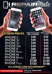 UNBEATABLE PRICES iPhone 6 LCD SCREEN $65! iPhone 6S $85.00! INSTALLED Hallam Casey Area Preview