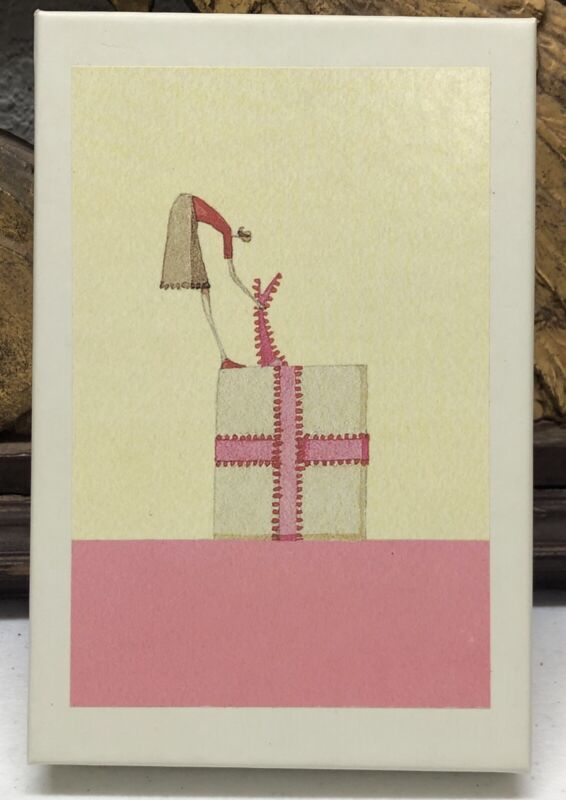 ROGER LA BORDE Girl on Present Christmas Notecards Illustrated by Laura Stodart