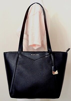 MICHAEL Michael Kors Whitney Small Top Zip Black Pebbled Leather Tote Small Zip Top Tote