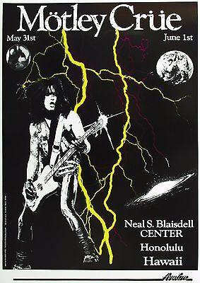 MOTLEY CRUE 1990 HONOLULU CONCERT TOUR POSTER- Heavy/Glam Metal, Hard Rock Music