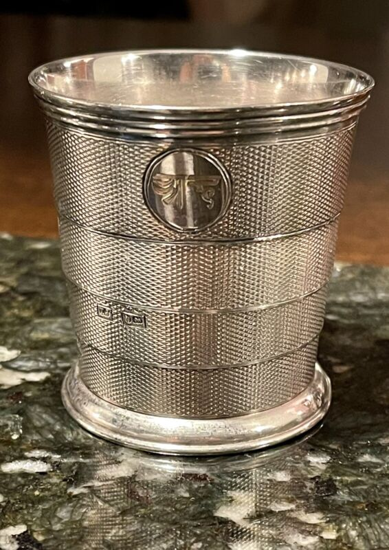 19th C. Thomas Johnson COLLAPSIBLE Jigger DRINKING CUP STERLING SILVER