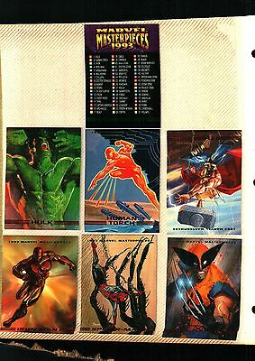 1993  SKYBOX MARVEL MASTERPIECES  SERIES COMPLETE 90 CARD SET  NEAR MINT