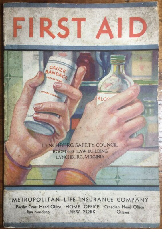 Vintage First Aid Booklet, Lynchburg, Virginia Safety Council, Met Life Ephemera