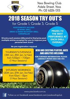 Yass Bowling Club 2018 Season Try-Outs