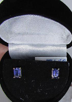 (14kt White Gold Iolite Earrings 6X4mm 1.00ctw Emerald Cut)